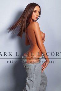 Aysha tall model in low slung jeans