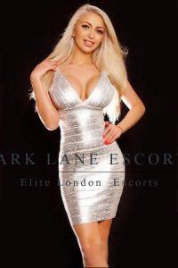 Julia in sexy silver dress
