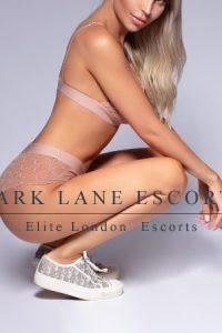 Kylie kneeling in sheer lingerie